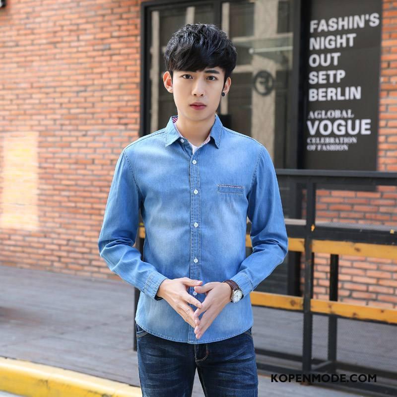Overhemden Heren Denim Lichtblauw Donkerblauwe Blauw Licht