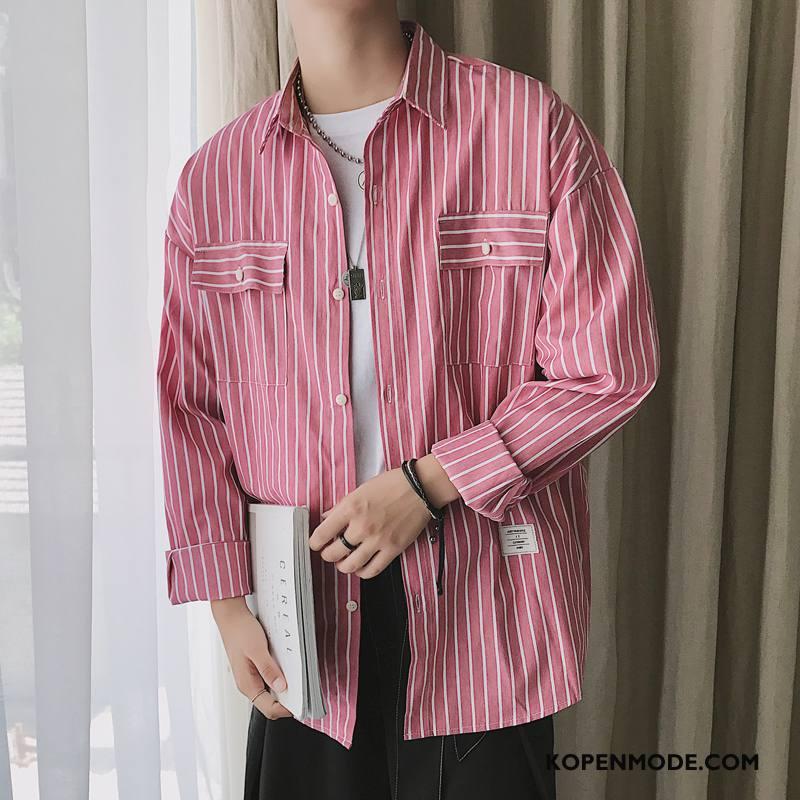 Overhemden Heren Herfst Casual Lange Mouwen Losse Trend Comfortabele Rood