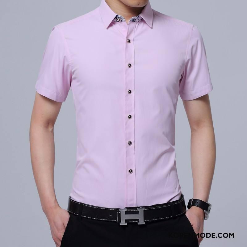 Overhemden Heren Jeugd Casual Mannen Herfst Bedrijf Lange Mouwen Roze Rood