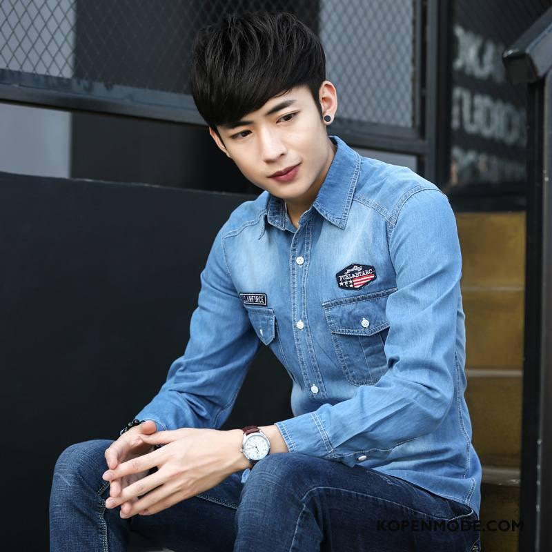 Overhemden Heren Jeugd Slim Fit Populair Denim Lichtblauw
