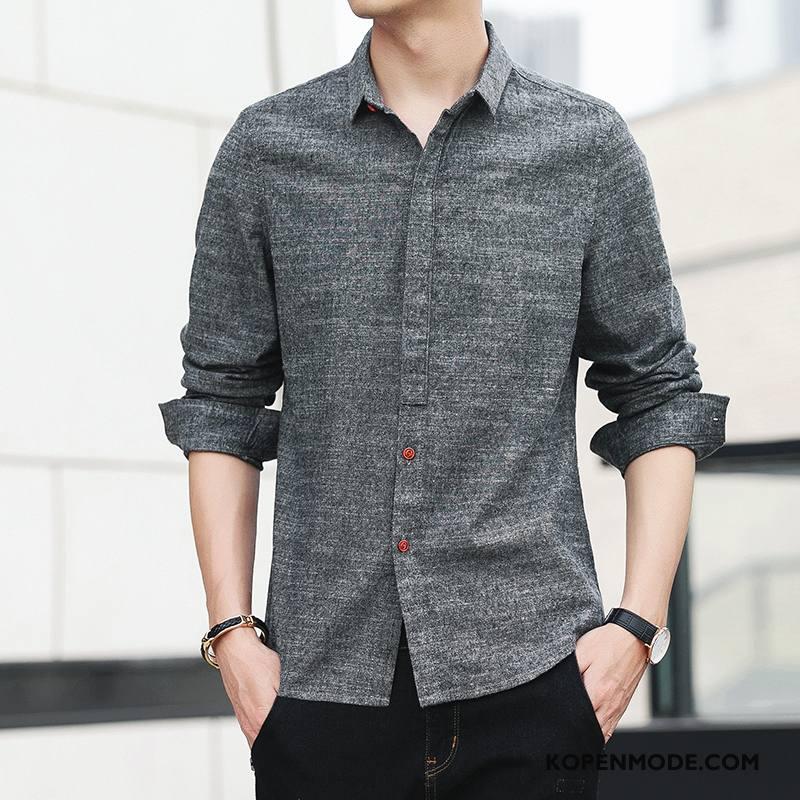 Overhemden Heren Jeugd Trend Mannen Herfst Casual Student Grijs