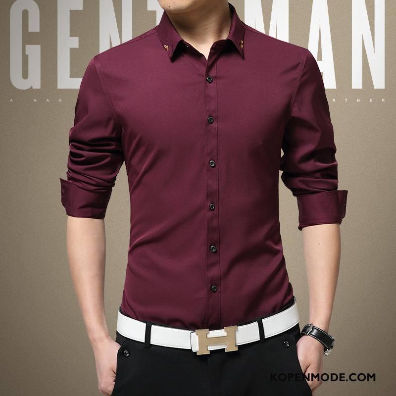 Rood Overhemd Slim Fit.Overhemden Heren Katoen Lange Mouwen Mannen Slim Fit Revers Zijde