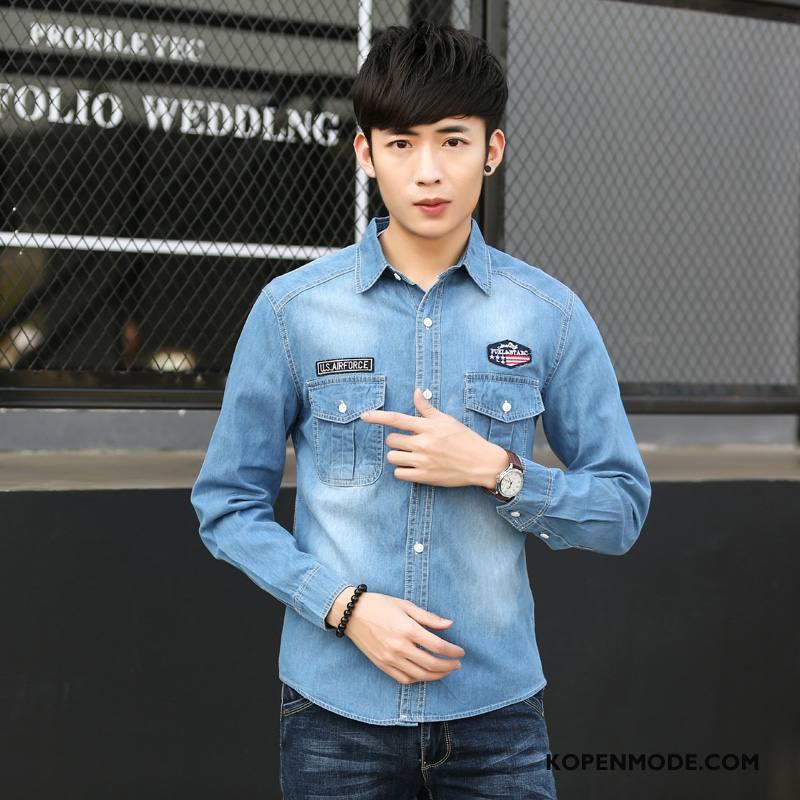Overhemden Heren Koe Donkerblauwe Blauw Licht