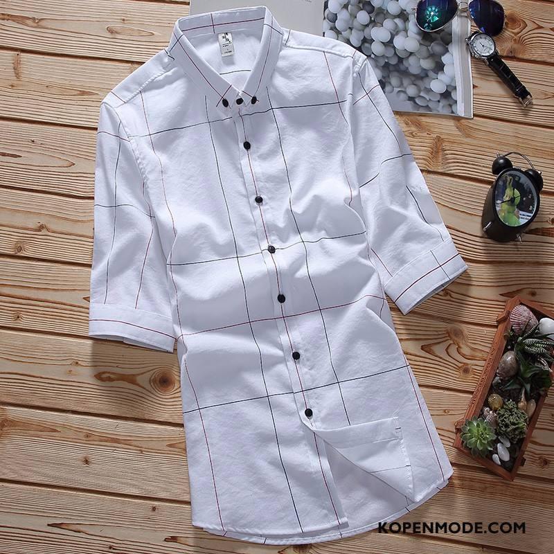 Overhemden Heren Korte Mouw Mooi Geruit Slim Fit Trend Casual Wit