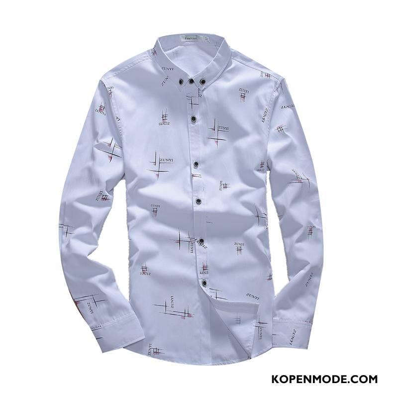 Overhemden Heren Lange Mouwen Voorjaar Mannen Verbinding Herfst Slim Fit Wit