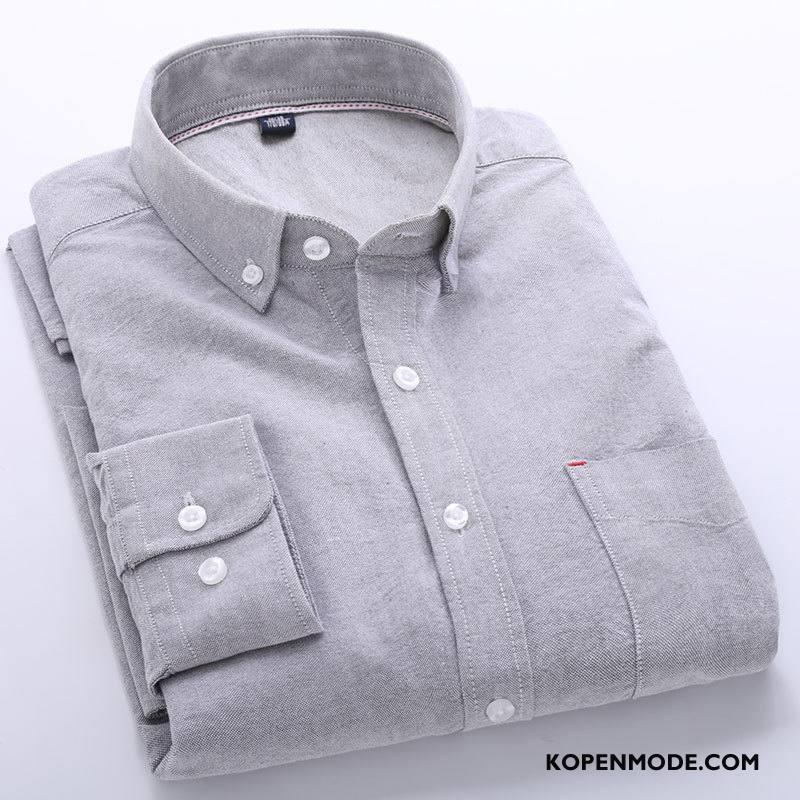Overhemden Heren Mannen Herfst Casual Trend Lange Mouwen Katoen Effen Kleur Grijs