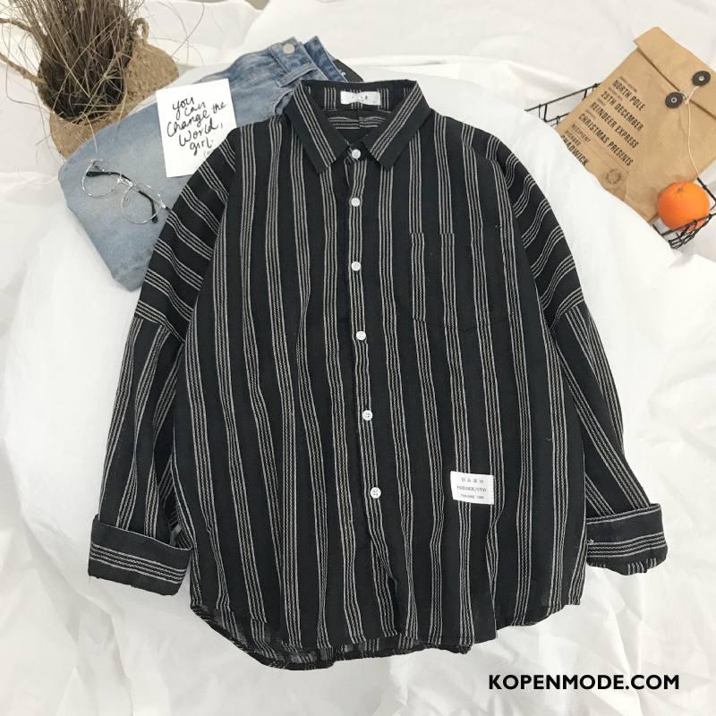 Overhemden Heren Mannen Lange Mouwen Jas Zwart