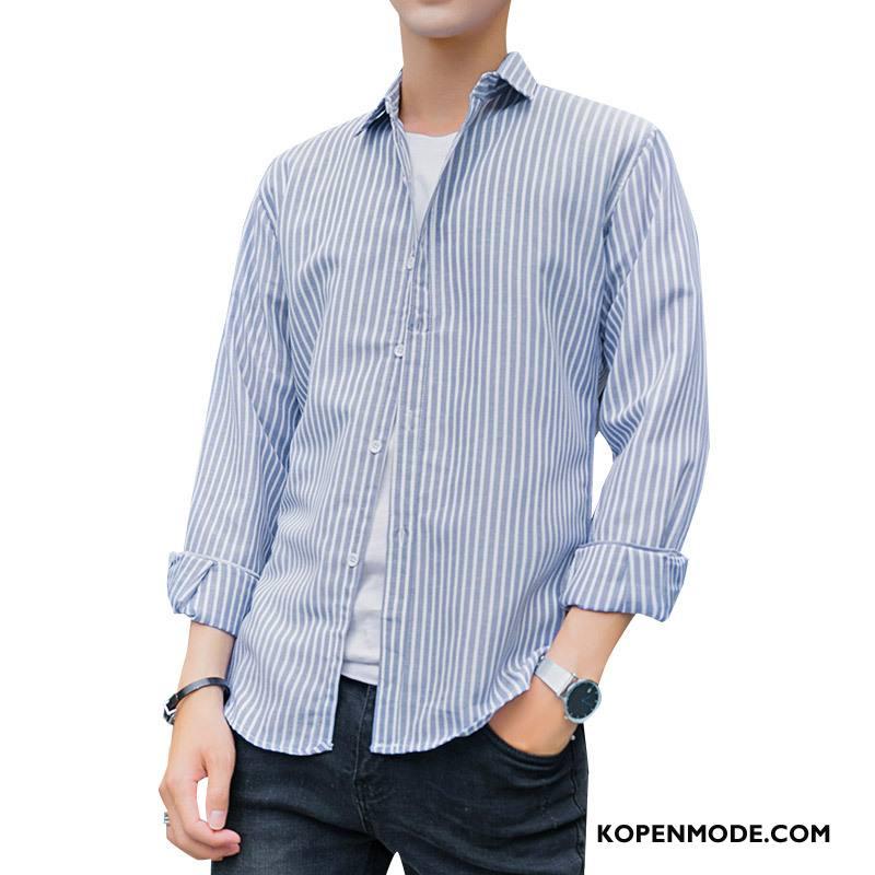 Overhemden Heren Mannen Nieuw Streep Herfst Instituut Revers Blauw Rood