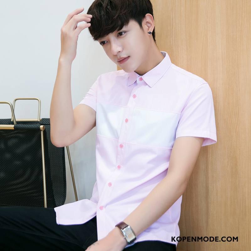 Overhemden Heren Mannen Nieuw Zomer Overhemd Kort Mouw Roze Rood