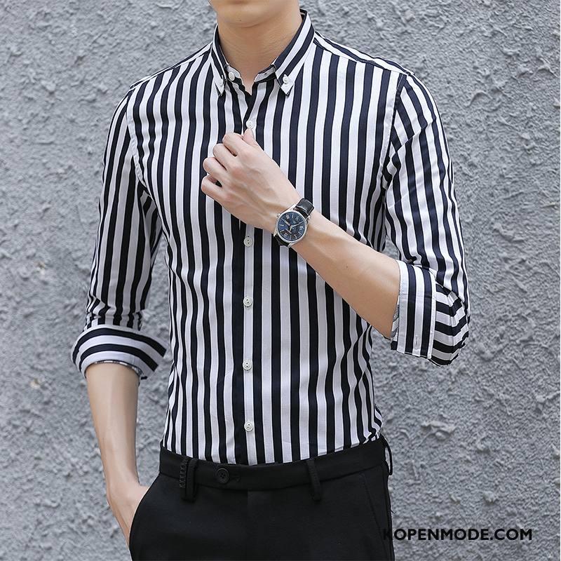 Zwart Overhemd Kopen.Overhemden Heren Mode Lange Mouwen Casual Herfst Jeugd Streep Zwart