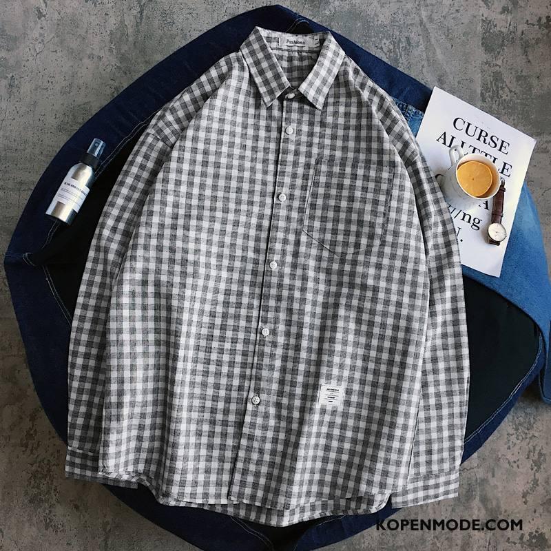 Overhemden Heren Mode Nieuw Casual Herfst Losse Lange Mouwen Zwart