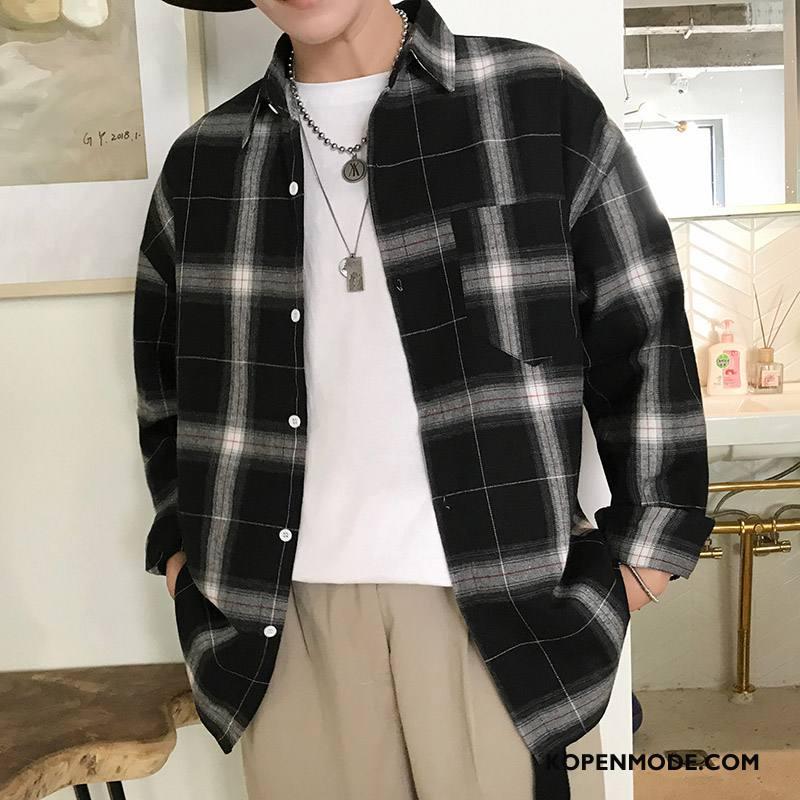 Overhemden Heren Nieuw Comfortabele Lange Mouwen Mode Herfst Losse Zwart