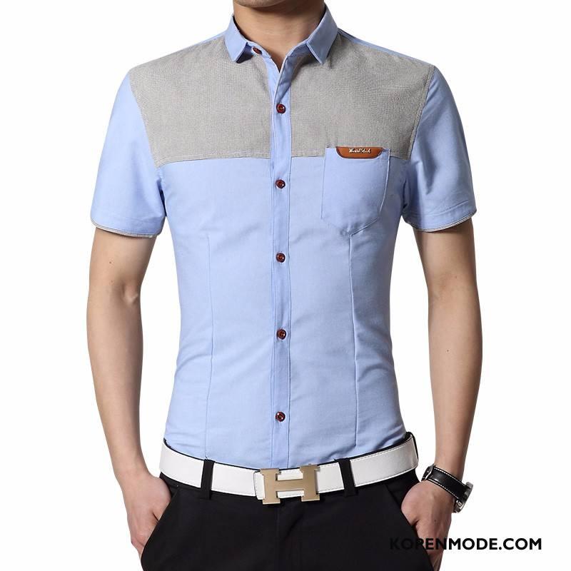 Overhemden Heren Nieuw Overhemd Kort Mouw Slim Fit Bedrijf Mannen Herfst Blauw