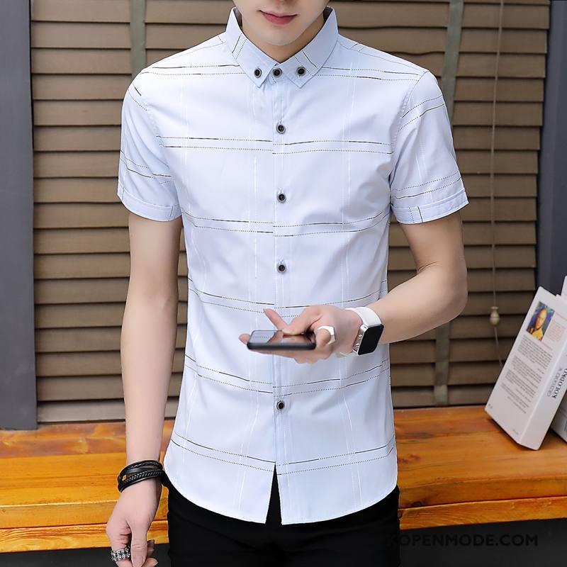 Casual Wit Overhemd.Overhemden Heren Overhemd Kort Mouw Mode Nieuw Trend Zomer Casual