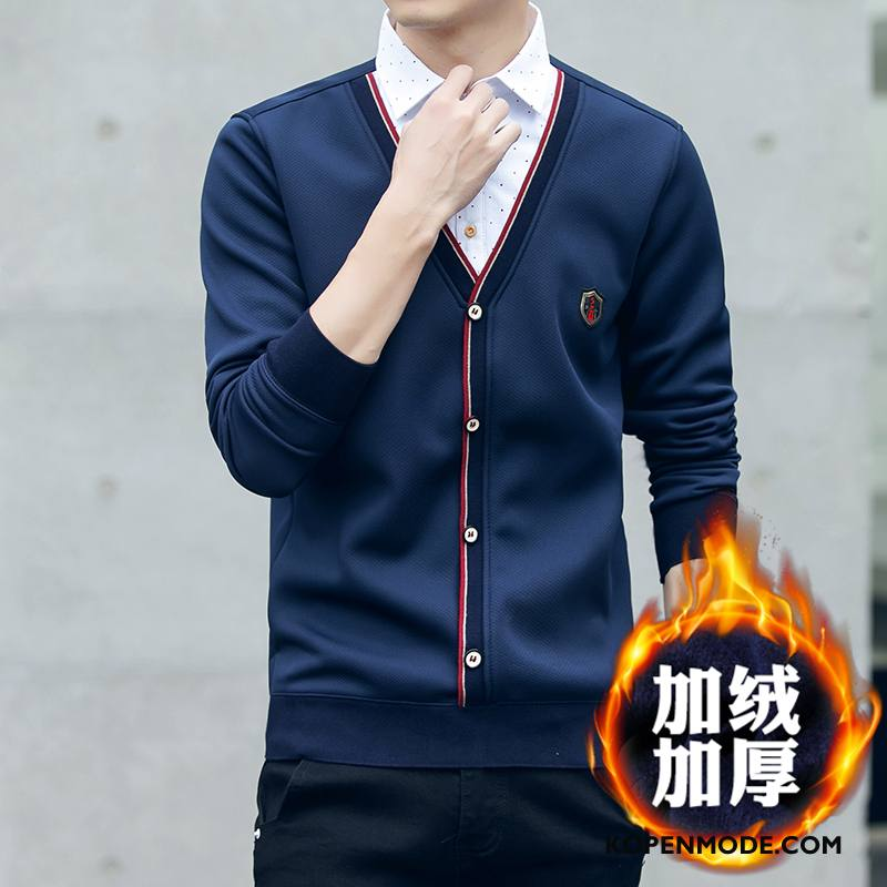 Donkerblauw Heren Overhemd.Overhemden Heren Plus Kasjmier Winter Hemdkraag Warme Gebreid Hemd