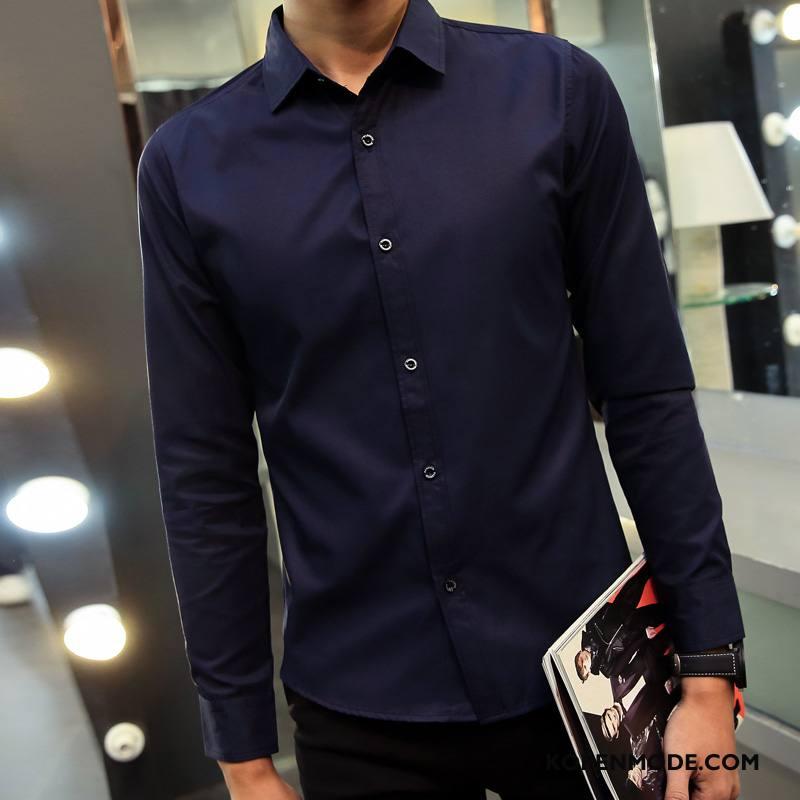 Overhemden Heren Slim Fit Bedrijf Lange Mouwen Jeugd Voorjaar Mannen Effen Kleur Zwart