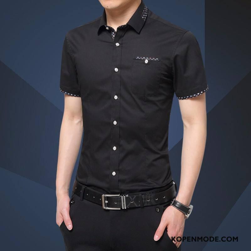 Overhemden Heren Slim Fit Nieuw Mouw Casual Mannen Zwart