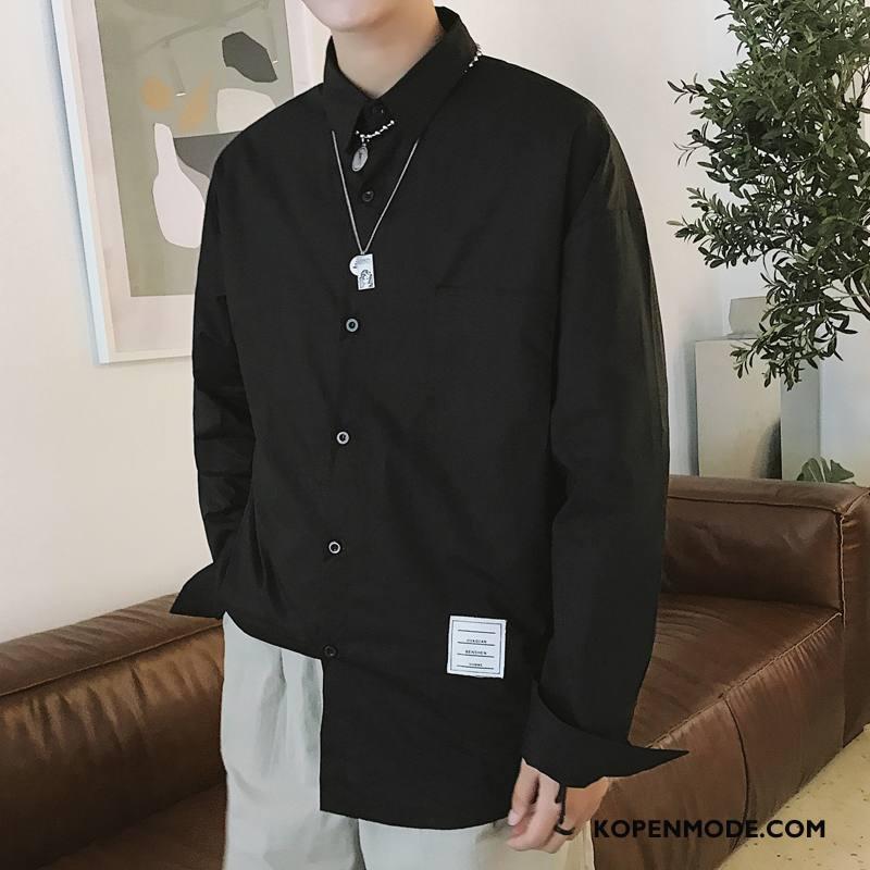Overhemden Heren Trend Nieuw Lange Mouwen Herfst Mode Casual Zwart