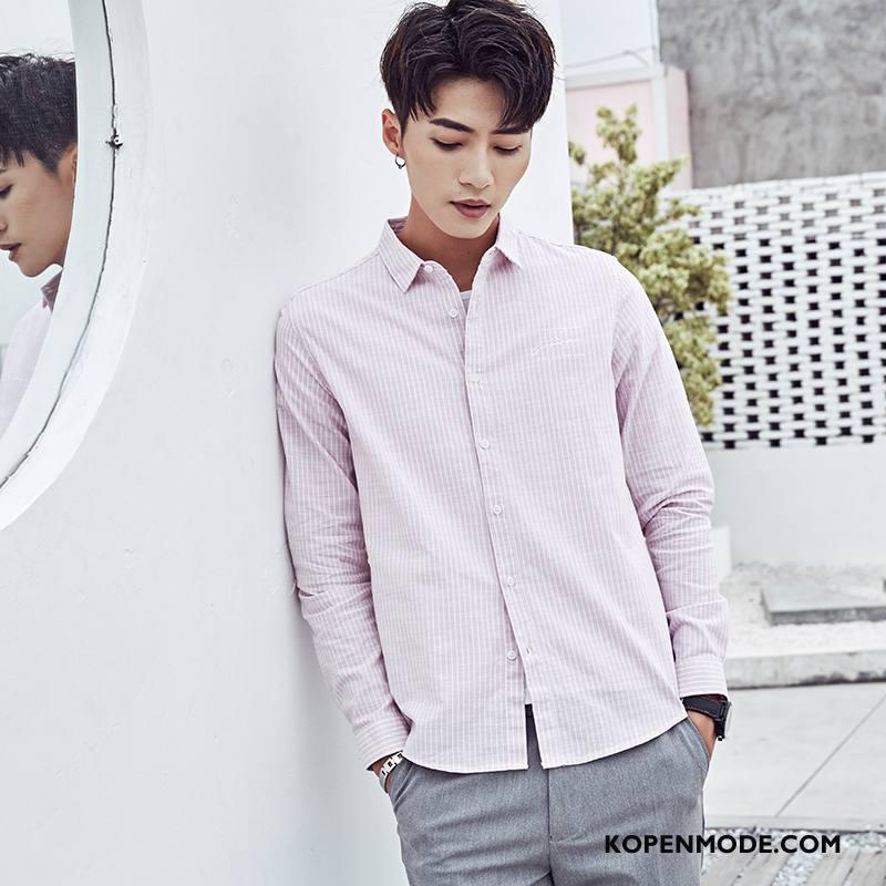 Overhemden Heren Voorjaar 2018 Casual Lange Mouwen Nieuw Mode Roze Wit