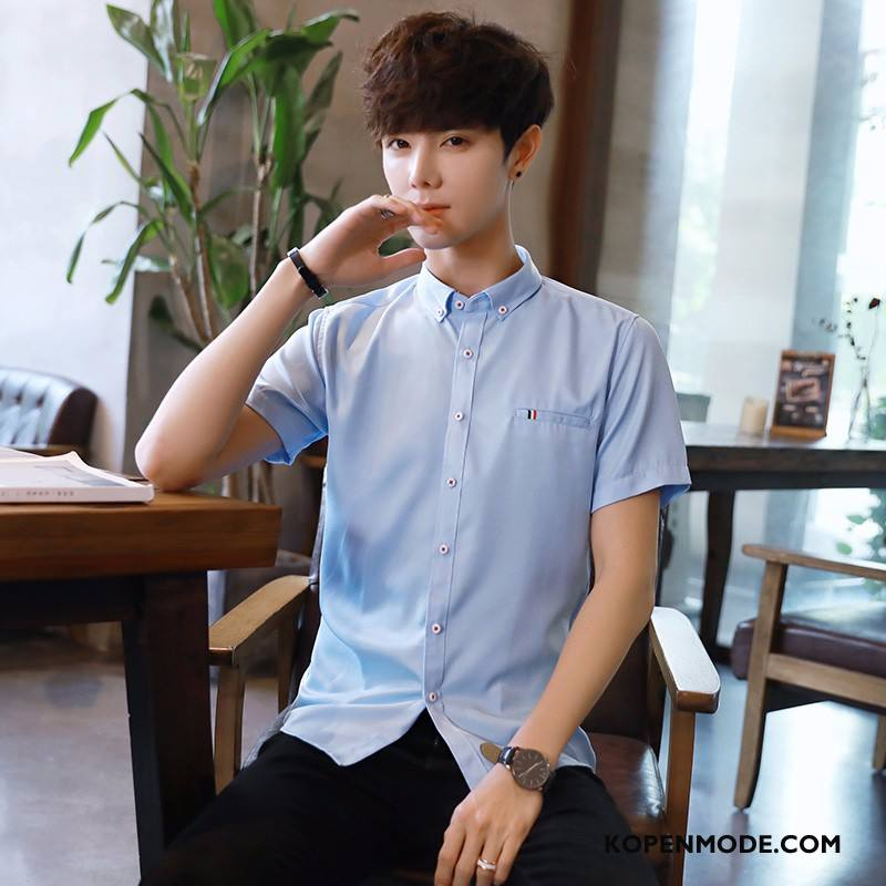 Overhemden Heren Zomer Jeugd Grote Maten Mannen Overhemd Kort Mouw Slim Fit Blauw