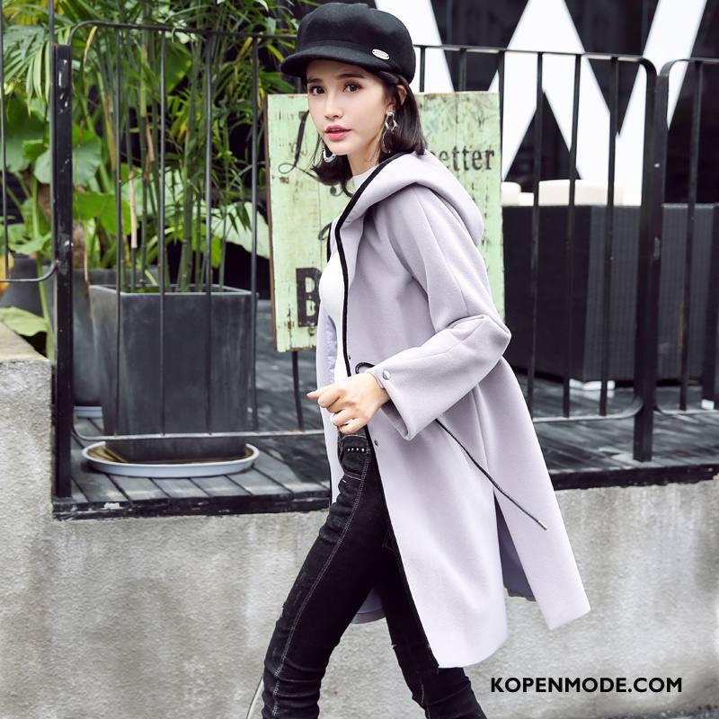 Overjas Dames 2018 Jas Wol Losse Trend Elegante Mode Effen Kleur Grijs