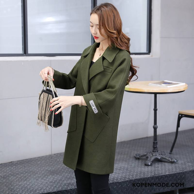 Overjas Dames Comfortabele Herfst 2018 Dubbele Knop Mode Lang Legergroene Effen Kleur