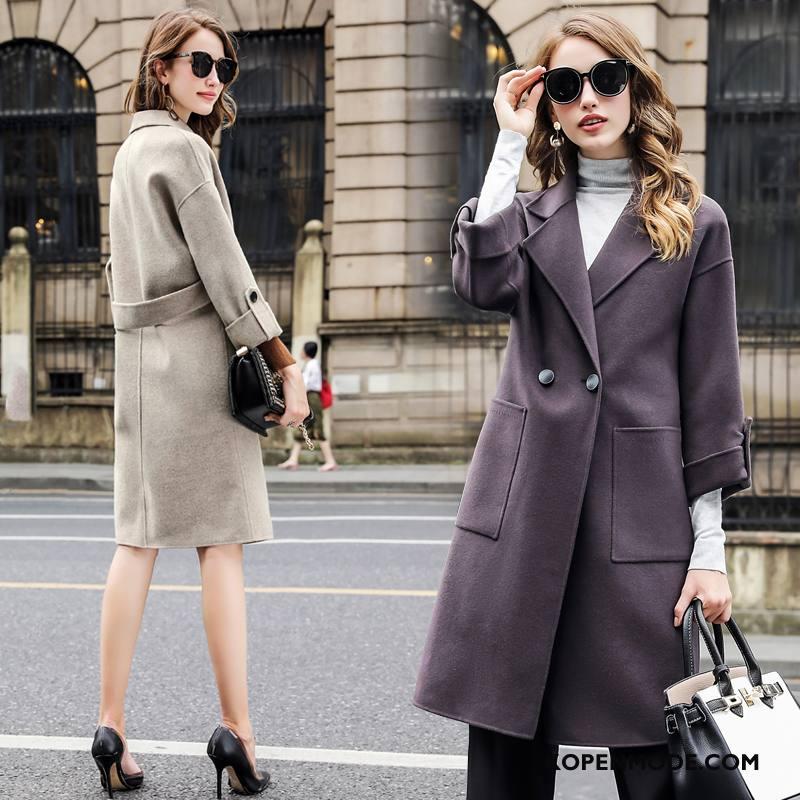 Overjas Dames Elegante Bloemen 2018 Vitaliteit Slim Fit Mode Effen Kleur Grijs
