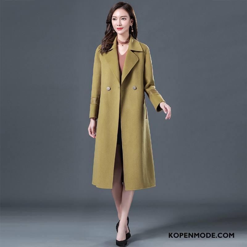 Overjas Dames Herfst Groot Slim Fit Mode Elegante Lange Effen Kleur Groen