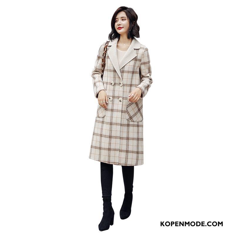Overjas Dames Lang Verbinding Trend Geruit Elegante Winter Effen Kleur Beige