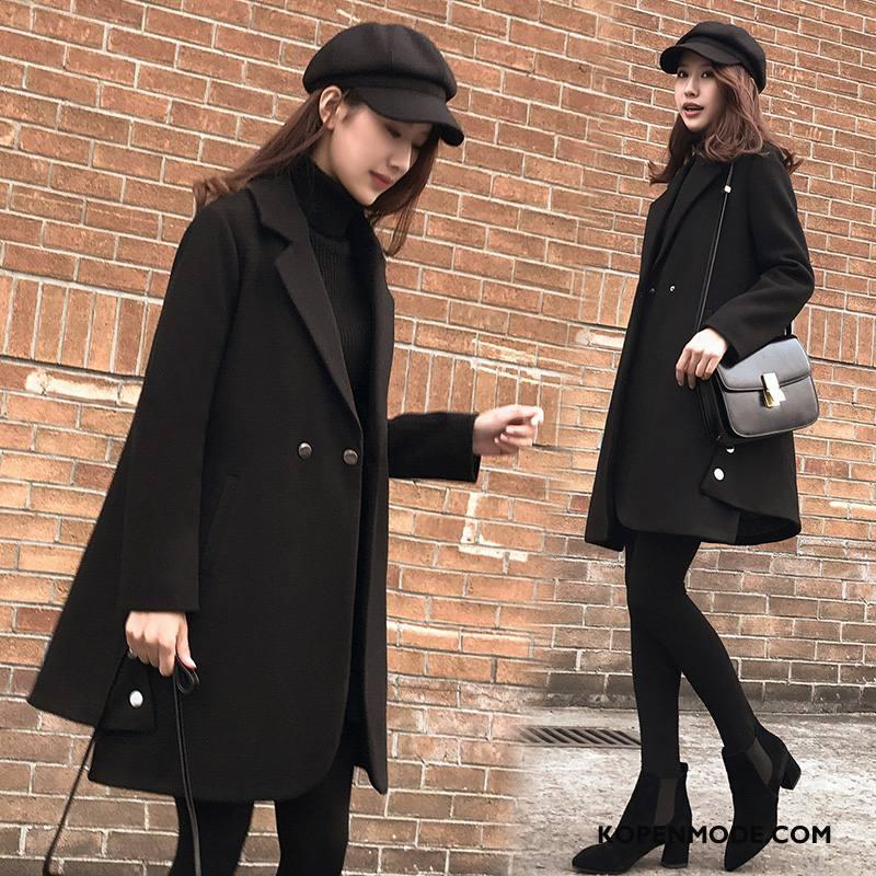 Overjas Dames Lange Mouwen Mode Pak Voorjaar Jas Wol Trend Zwart