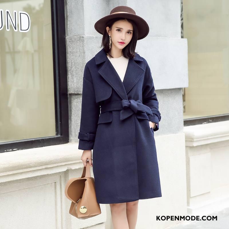 Overjas Dames Losse 2018 Mode Casual Trend Lange Mouwen Marineblauw Effen Kleur