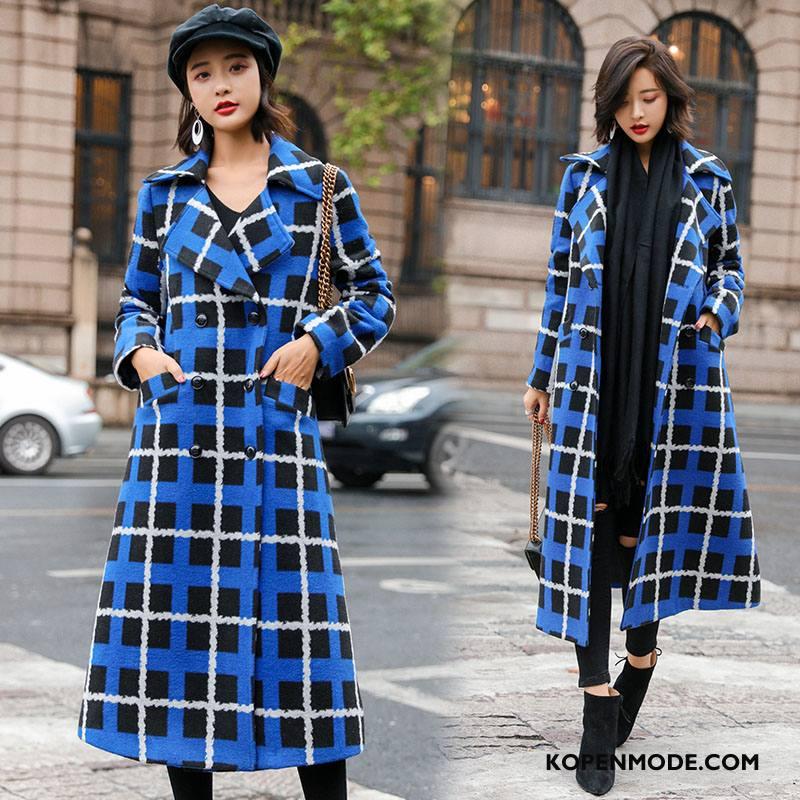 Overjas Dames Mode 2018 Elegante Geruit Straat Winter Blauw