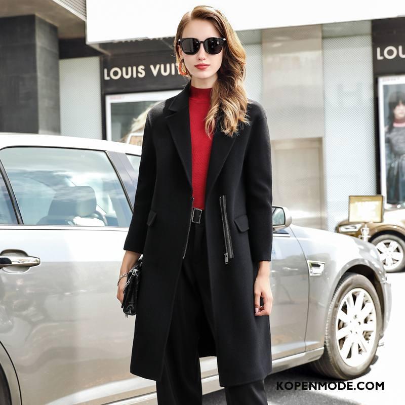 Overjas Dames Mode 2018 Pak Elegante Jas Wol Lange Mouwen Zwart