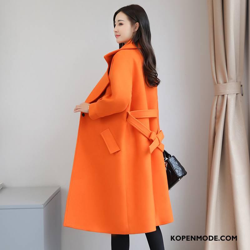 Overjas Dames Mode Populair Jas Wol Stad Eenvoudige Jeugd Oranje