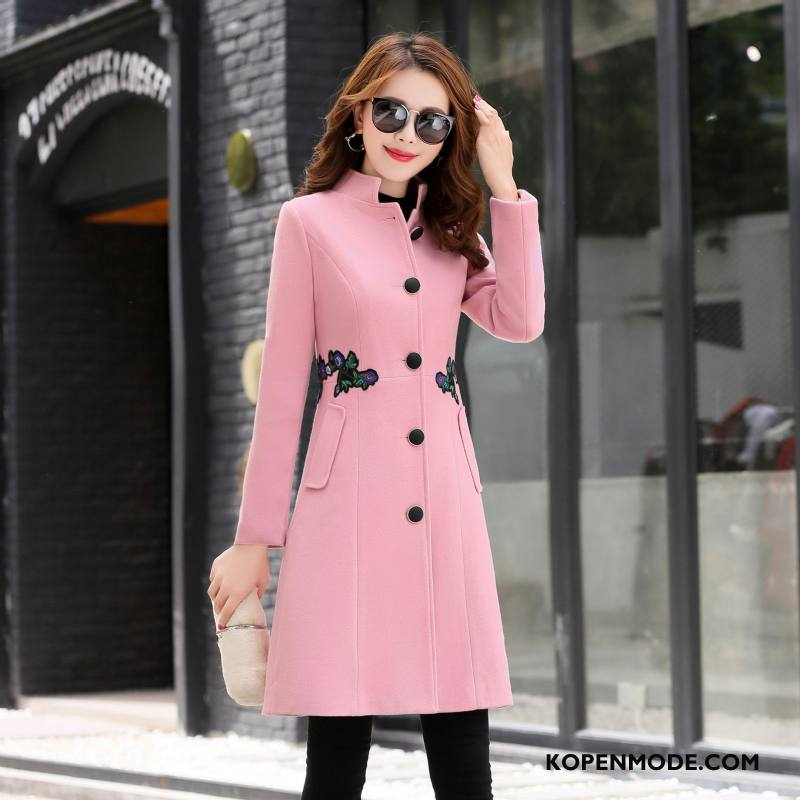Overjas Dames Trend Jas Wol 2018 Zoet Casual Mode Roze Rood