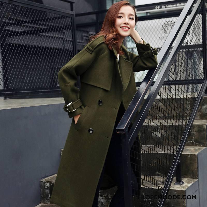 Overjas Dames Winter Trend 2018 Warme Slim Fit Mode Legergroene Effen Kleur