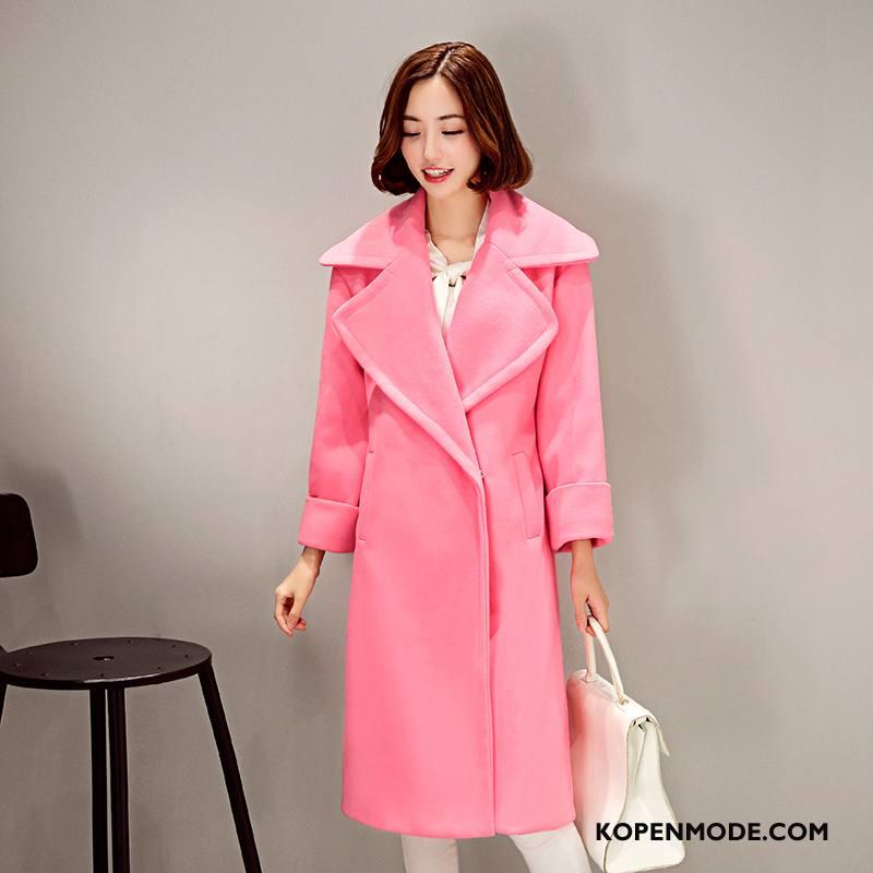 Overjas Dames Zuiver Trenchcoat Winter Zoet Mode Elegante Effen Kleur Roze