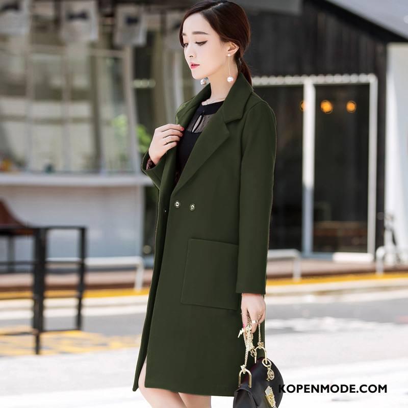 Overjas Dames Zuiver Zak Verbinding Mode Trend 2018 Legergroene Effen Kleur