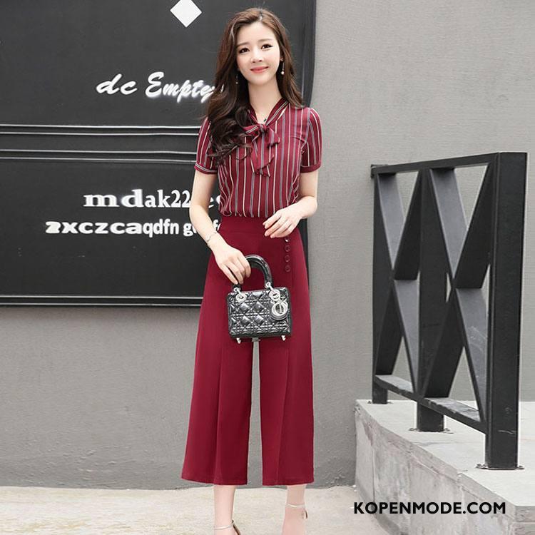 Pakken Dames Elegante Mid Taille Korte Mouw Vlinderdas Streep Mode Rood