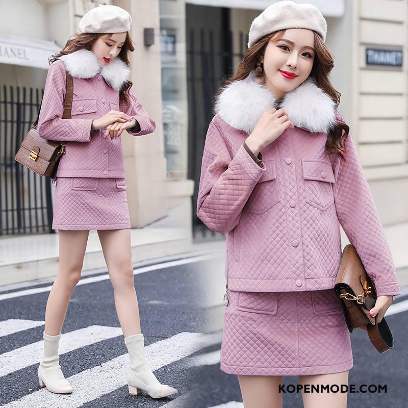 Pakken Dames Elegante Mode Winter Bontkraag Slim Fit 2018 Effen Kleur Purper Roze
