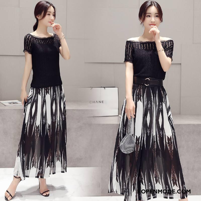 Pakken Dames Korte Mouw Mode Zomer 2018 Bedrukken Twee Stukken Zwart