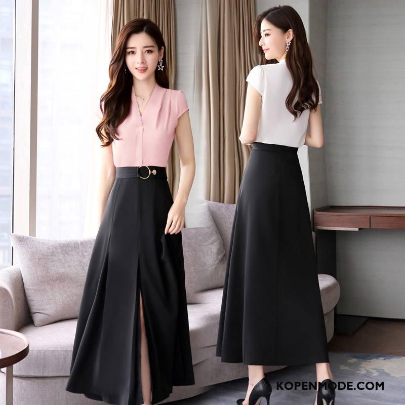 Pakken Dames Mode Zomer 2018 Casual Korte Mouw Elegante Zwart