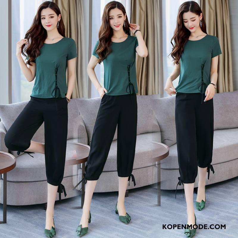 Pakken Dames Mooi Vers Mode Trend Twee Stukken Zomer Zwart Groen