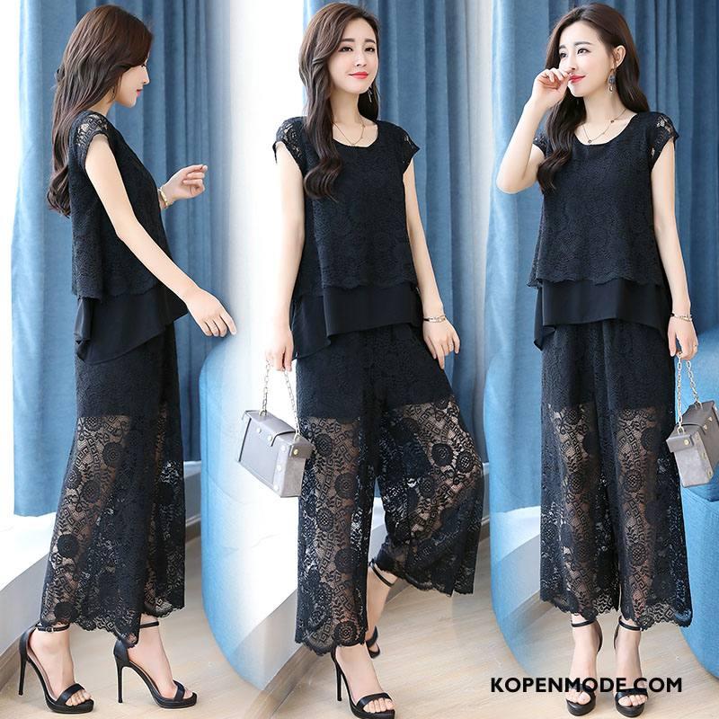 Pakken Dames Voorjaar Lang Elegante Mid Taille Mode Eenvoudige Zwart