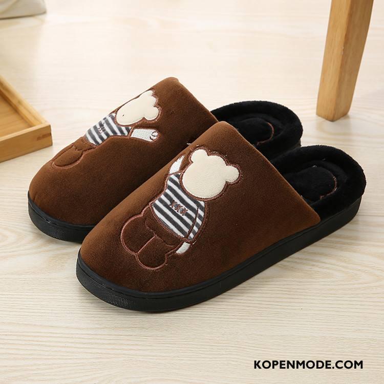 Pantoffels Dames Binnen Mooie Katoen Spotprent Lovers Winter Bruine