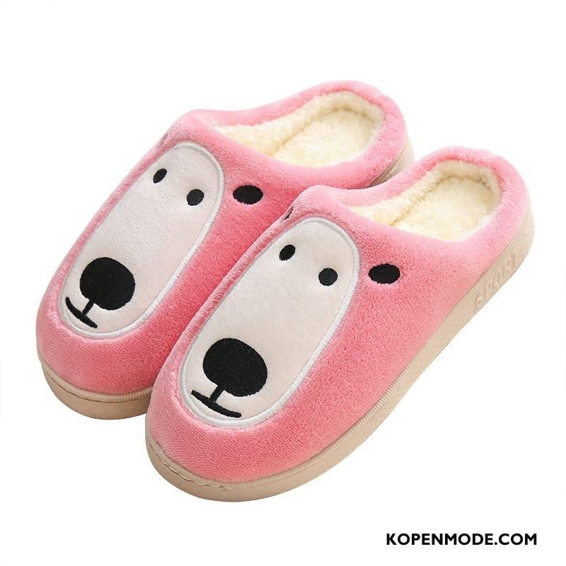 Pantoffels Dames Katoen Lovers Mooie Vrouwen Plateauzool Binnen Roze Roze
