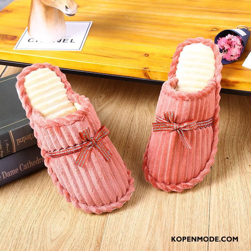 Pantoffels Dames Katoen Vrouwen Winter Houten Antislip Slippers Roze