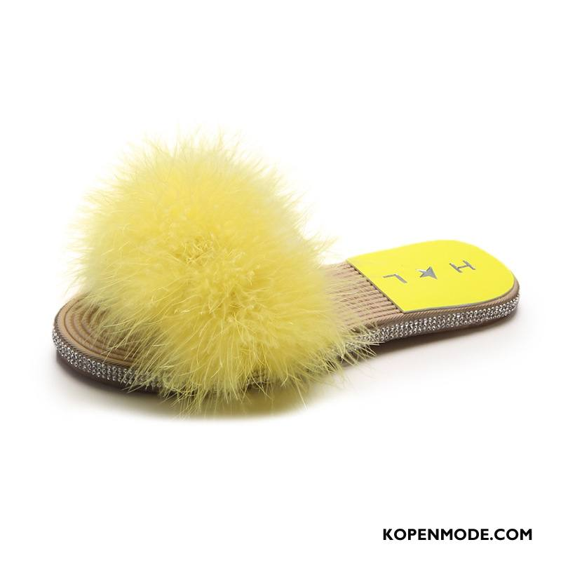 Pantoffels Dames Mode Bovenkleding Zachte Zolen Plat Zomer Met Strass Geel