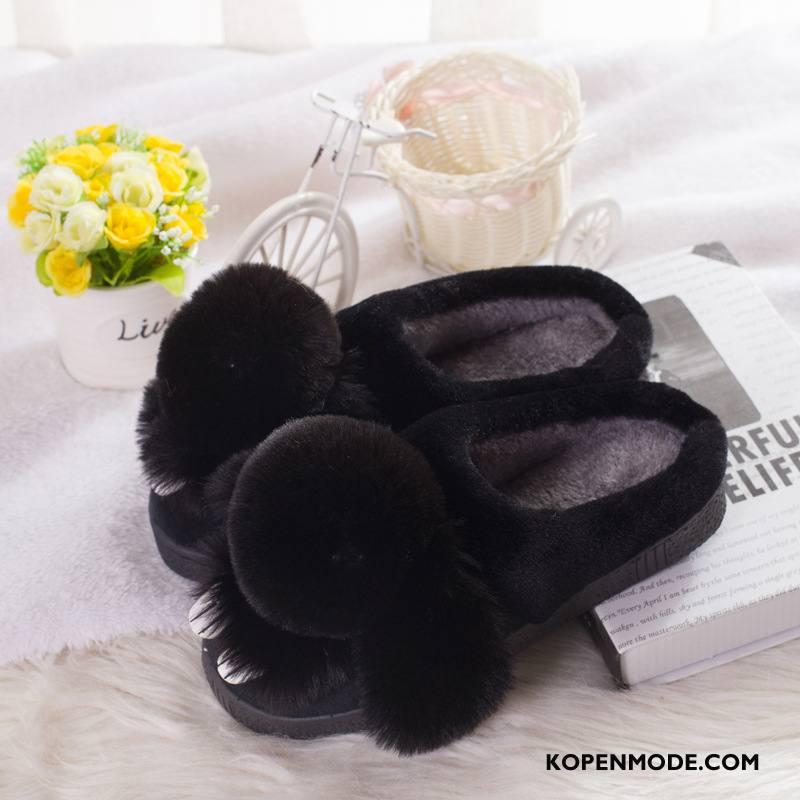 Pantoffels Dames Mode Schoenen Antislip Winter Vrouwen Warm Zwart