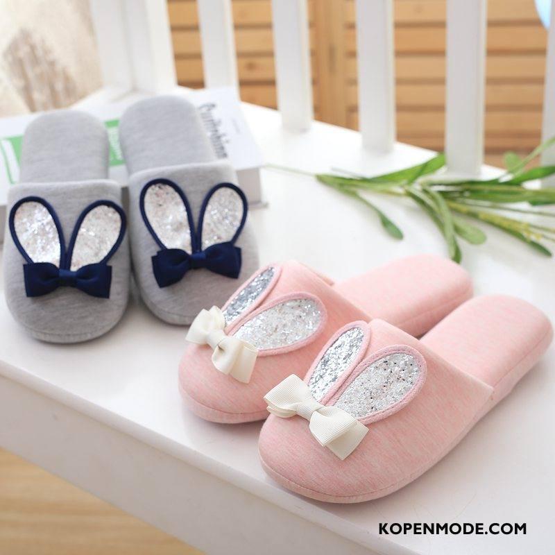 Pantoffels Dames Mode Spotprent Katoen Antislip Vrouwen Lovers Roze